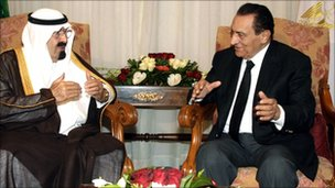 Hosni Mubarak meets Saudi King Abdullah in Sharm el-Sheikh, 28 July