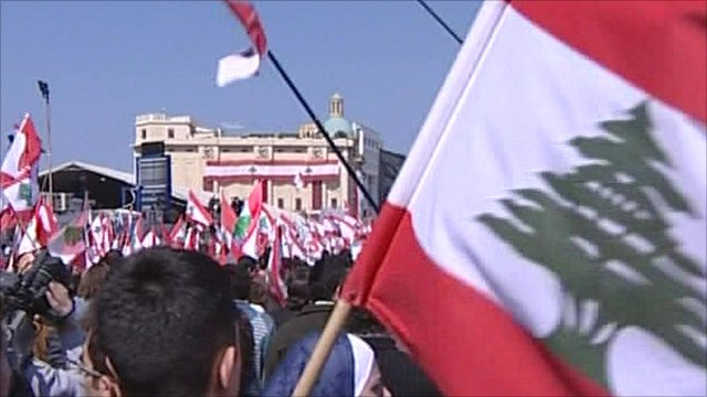 Crowd of protesters in Beirut