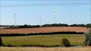 Artist's impression of how the turbines will look from Manor Farm in Silton