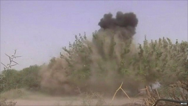 Controlled explosion of the bomb-making components found in Afghan village
