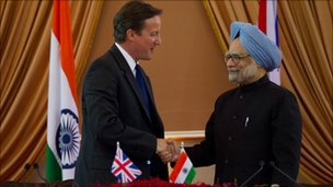 Prime Minister David Cameron and Indian Prime Minister Manmohan Singh on July 29, 2010 in Delhi, India