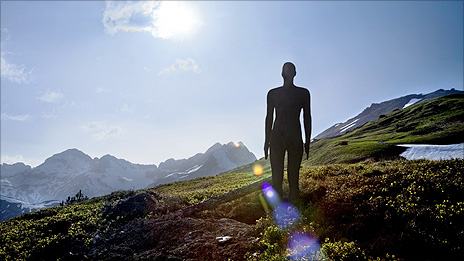 Antony Gormley installation in the Austrian Alps