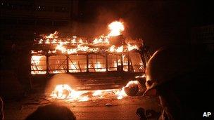 Burning vehicle in Karachi