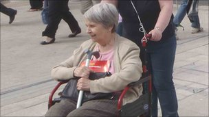 Wheelchair user Margaret Williams at the National Eisteddfod in Ebbw Vale