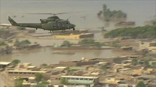 Helicopter above Pakistan floods