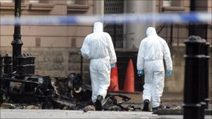 Forensic scientists at bomb scene