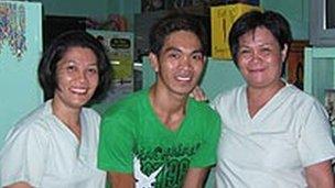 Kiko Dela Tonga and two staff members at the Letre health clinic