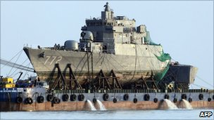 The Cheonan is lifted from the sea on 24 April 2010