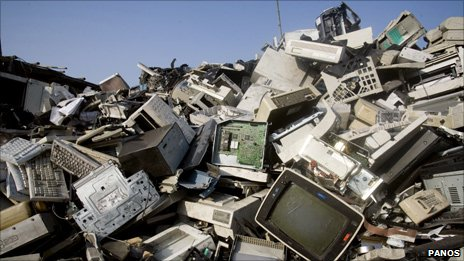 Pile of computers and televisions