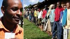 Richard Ng'ang'a (left) a butcher in Elburgon in Central Rift Valley; lines of voters in Nakuru (right)