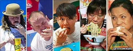 A selection of competitive eaters