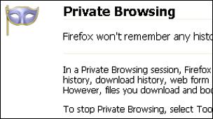 Screenshot of private browsing mode, Mozilla