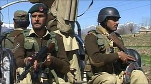 Soldiers in north-western Pakistan