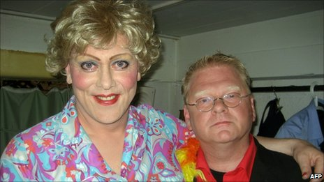 Jon Gnarr (left) poses with the director of Reykjavik Gay Pride festival, Heimir Mar Petursson (5 August 2010)