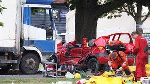 Emergency services at scene of Wisborough Green crash