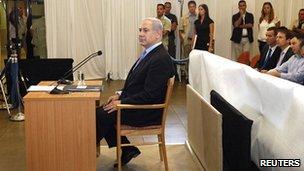 Mr Netanyahu testifying at the inquiry