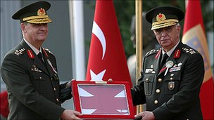 Turkish Generals Ilker Basbug (left), and Isik Kosaner, pictured in August 2008