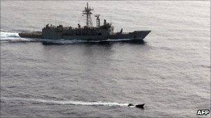 SPS Victoria and pirate skiff