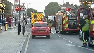 Emergency services at accident scene