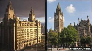 Liver building and Manchester Town Hall