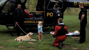The little boy with the Sussex Police helicopter and crew