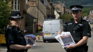 Police with appeal leaflets and posters. Pic: Northern Constabulary