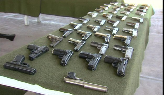 Guns on display