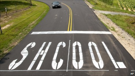 Newly paved road leading to Southern Guilford High School