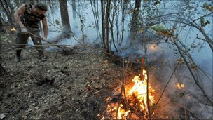 A man tries to extinguish a forest fire near Zdorovie, east of Moscow