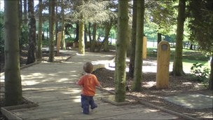 Child in play area
