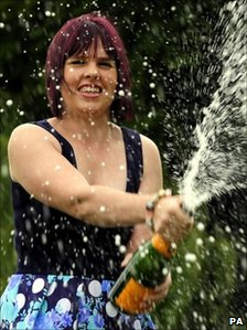 Stacey Bywater celebrates her win with champagne