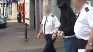 The accused hid his face as he left court in Enniskillen