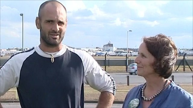 Amazon adventurer Ed Stafford with his mother at Heathrow