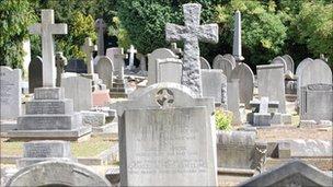 Grave memorials in a cemetery