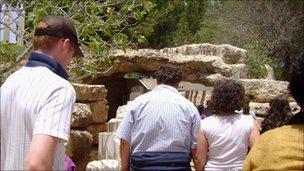 Visitors at the Yad Vashem museum