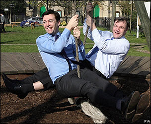 Andy Burnham and Ed Balls on a swing