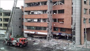 Photo of bomb damage in Bogota by Juan C Burbano