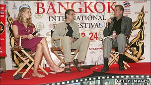 Jeremy Irons (centre) at the Bangkok Film Festival in 2005
