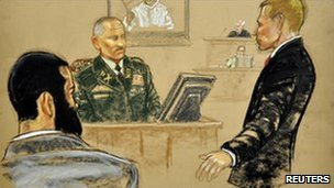 Omar Khadr (left) attends his trial in Guantanamo, 9 August (courtroom sketch does not identify other figures)