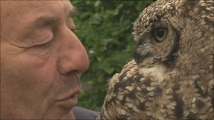 Mr Burt with one of his owls
