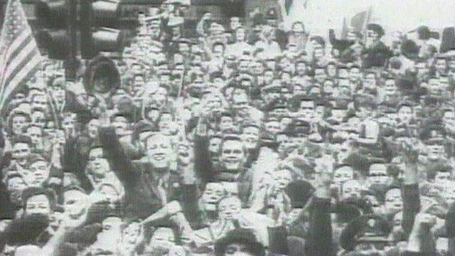 VJ Day celebrations in London's Trafalgar Square in 1945