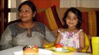 Smita Srivastava and her daughter, Nandika, four, at home in Delhi