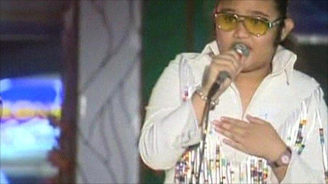 Schoolgirl Elvis Presley impersonator