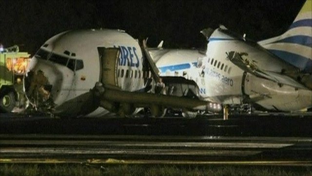 wreck of crashed plane in colombia