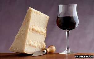 Parmesan and red wine
