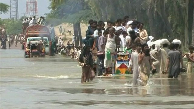 People in flood waters
