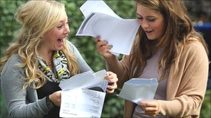 A level students celebrate at Brighton College, East Sussex