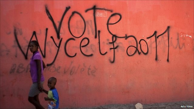 Graffiti in support of Wyclef Jean