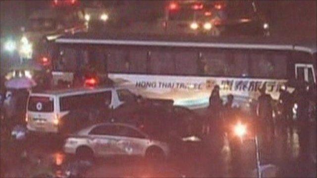 Police surround bus