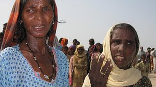 Two women refused aid at a camp in Sukkur